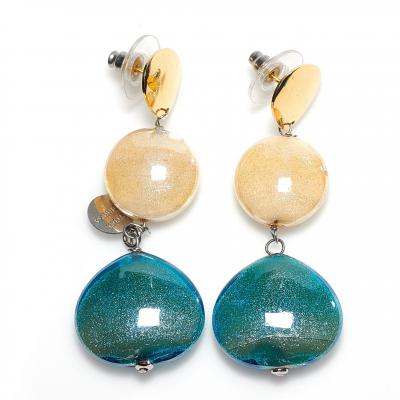 Jewelry Murano Earrings Avogaria blue gold
