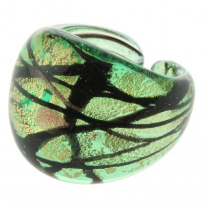 Jewelry Murano Ring Laguna green gold black size 55