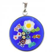 Jewelry Pendant Millefiori blue flowers