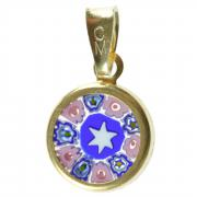 Jewelry Pendant Millefiori star blue pink gold D12